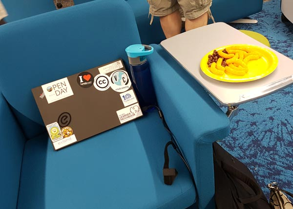Photo from Open Day: Chair with laptop and snacks