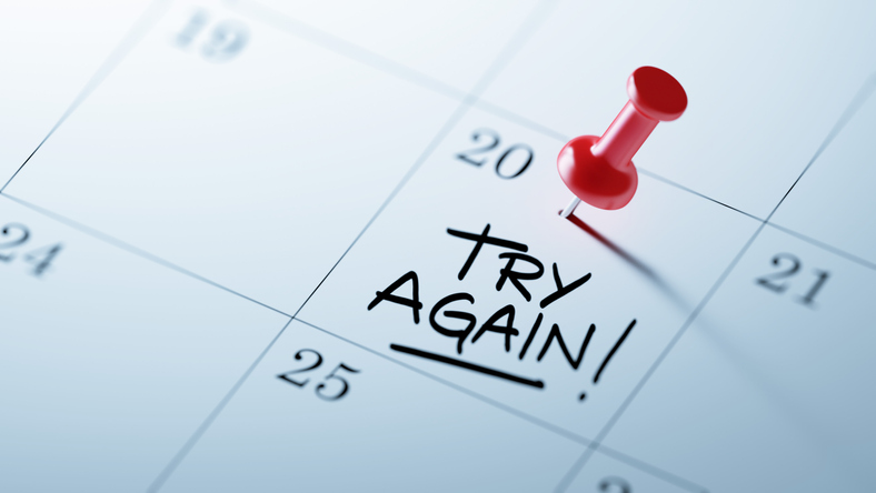 "Calendar that says ""try again"""