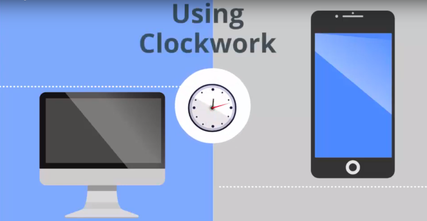 Using Clockwork. Image of a computer screen, a clock, and a smartphone
