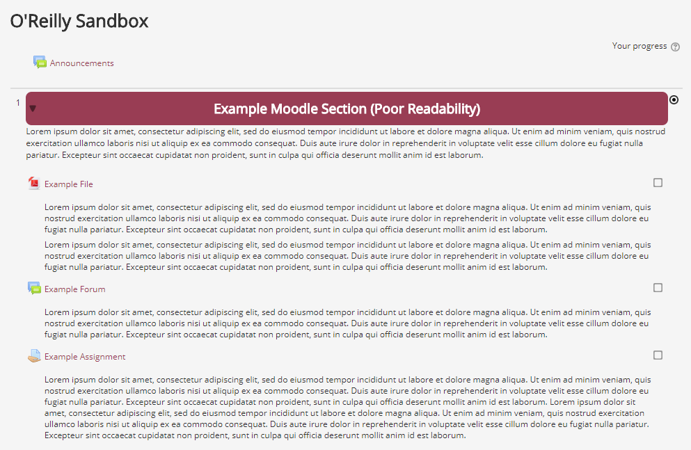 A screenshot of a Moodle course with poor overall readabilty