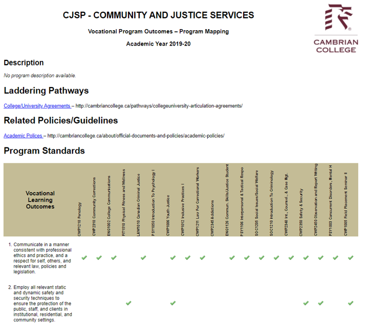 Community and Justice Services Program Map in table format
